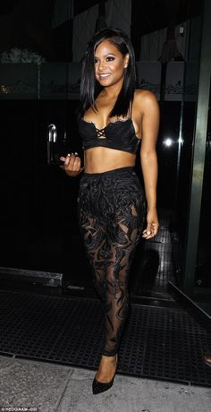 Show-stopper: Christina Milian looked sensational as she visited Mr Chow's restaurant in L...