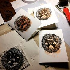 Winter season linoprint cards designed and printed by Mea Bateman