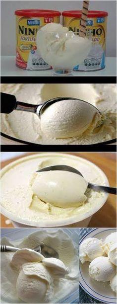❤️ Sorvete de Leite Ninho Fácil VEJA AQUI>>>Hidrate a gelatina com 4 colheres de sopa água, no micro-ondas, por 15 segundos. Coloque todos os ingredientes no liquidificador e bata durante 3 minutos. #receita#bolo#torta#doce#sobremesa#aniversario#pudim#mousse#pave#Cheesecake#hocolate#confeitaria Helado Natural, Brazillian Food, Delicious Desserts, Yummy Food, Ice Cream Recipes, Desert Recipes, Creative Food, Sweet Recipes, Food Porn