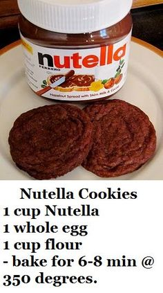 These are the best cookies EVER! 1 cup Nutella, 1 whole egg, 1 cup flour - bake for min @ 350 degrees.AThese are the best cookies EVER! 1 cup Nutella, 1 whole egg, 1 cup flour - bake for min @ 350 degrees. Delicious Desserts, Dessert Recipes, Yummy Food, Desserts Nutella, Dessert Healthy, Nutella Brownies, Think Food, Love Food, Best Cookies Ever