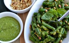 These crispy green beans with pesto make for a great side dish.