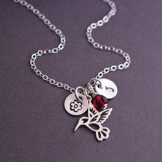 Hummingbird Necklace Personalized Sterling Silver Hummingbird Jewelry by georgiedesigns