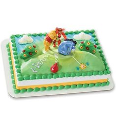 Winnie the Pooh Tail For Eeyore Cake Kit. Pooh, Tigger and Eeyore are mounted to a base. Provide the story with your piping prowess for a memorable cake. Tigger And Pooh, Winnie The Pooh Themes, Winnie The Pooh Cake, Winnie The Pooh Birthday, Disney Winnie The Pooh, Eeyore, Bakery Crafts, Sprinkle Cupcakes, Cake Kit