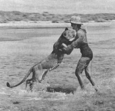 """Joy Adamson and Elsa the lion. Joy's husband killed a lioness as she charged him then realized she was protecting her cubs. Joy and her husband raised the cubs. Joy wrote the famous and tear-jerking novel """"Born Free"""" about her experiences. In 1961 Elsa died leaving 3 cubs behind, which Joy took care of. In 1980 Joy was found dead she had been murdered by an ex-employee."""
