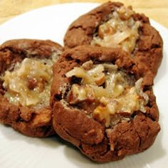 Oh NO! German Chocolate Thumbprint Cookies. Yum! These look so good!