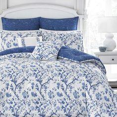 Overstock is current best price - Laura Ashley Elise Navy Comforter Set Navy Comforter, Blue Duvet, Queen Comforter Sets, Floral Comforter, Queen Duvet, Blue And White Bedding, Blue Bedding, Laura Ashley, Ashley Blue