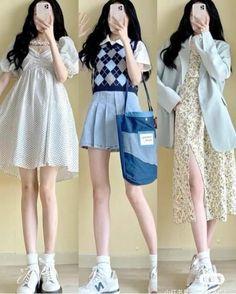 Best Casual Outfits, Korean Outfits, Cool Outfits, Ulzzang Fashion, Kpop Fashion Outfits, Girl Fashion, Looks Kawaii, Fairytale Dress, Korea Fashion