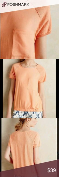 """⌛️GONE 12/15⌛️ Moth banded pocket top peach Cotton knit, woven polyester Elasticized hem Front pocket Pullover styling Machine wash 24""""L Brand new with tag. Anthropologie Tops Tees - Short Sleeve"""
