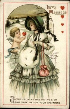 Valentine Pretty Woman & Cupid  c1910