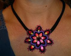 Handmade beads embroidery pendant/necklace   by IzabelaCichocka