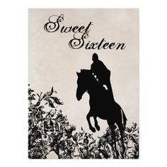 Sweet 16 Vintage Horse Jumping Birthday Invitation