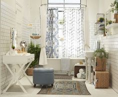 Target Chapter 9 Bohemian Bathroom Emily Henderson throughout The Stylish and Stunning Bohemian Bathroom intended for Residence Bathroom Wall Decor, Bathroom Styling, Small Bathroom, Bathroom Storage, Bathroom Ideas, Target Bathroom, Bathroom Baskets, Bathroom Vinyl, Towel Storage