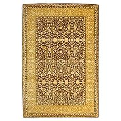 Silk Road Rug -- Hand-tufted wool and art silk rug in brown and ivory.