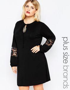 Bild 1 von Boohoo Plus – Swing-Kleid mit Spitzeneinsatz