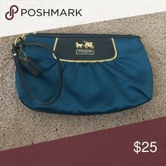 Coach Turquoise Silk Wristlet Used once - in perfect condition. Coach Bags Clutches & Wristlets