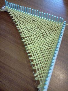 Using the Martha Stewart loom and a coat hangar to weave a triangle