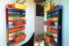 Colorful Pallet Plant Holders For Porch