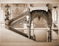 Section of the main staircase inside Charles Garnier's Opera House, Paris