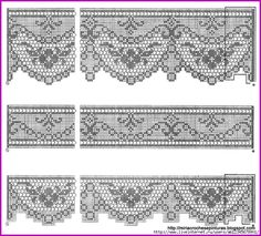 Filet crochet lace edgings with scrolls and scallops