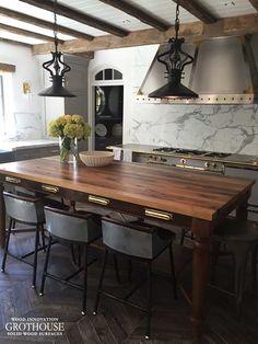 Brass Fixtures Reclaimed Wood Table Top #CustomWoodCountertops #WoodCountertops #GrothouseThings  http://wood-countertop.glumber.com/brass-fixtures-wood-countertops/