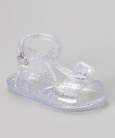 Love this White Glitter Bow Jelly Sandal by Chatties on #zulily! #zulilyfinds