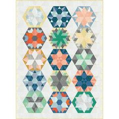 Robert Kaufman Park Bench Quilt Kit featuring Botanics by Carolyn Friedlander