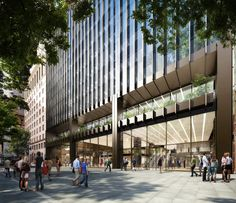 Street view of Make Architect's 10 Carrington Street entrance off Wynyard Place in Sydney. DBOX 2014