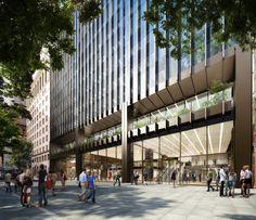 Street view of Make Architect's 10 Carrington Street entrance off Wynyard Place in Sydney. DBOX 2014