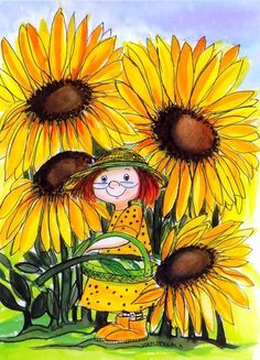 "Hello there folks. My name is 'Miss Susie Sunflower.' I am your hostess through Bonnie's board of glorious tall, yellow sunflowers on "" ~~~ SUNFLOWER ADDICTION ~~~."" [Note: artist is Virpi Pekkala] Sunflower Quotes, Sunflower Art, Art Fantaisiste, Sunflowers And Daisies, Illustrator, Fantasy Illustration, Sunflower Illustration, Art Floral, Whimsical Art"