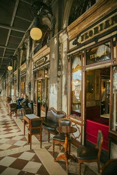 Cafe Florian in Venice, Italy. It opened on Piazza San Marco on December 29, 1720 and soon became a favorite spot for many a playwright, artist and author. It was the only cafe to allow women, and it was famously popular with Casanova.