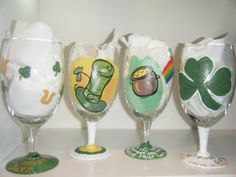 St. Patrick's Day Hand Painted glasses featuring by Glass2Adore, $42.95