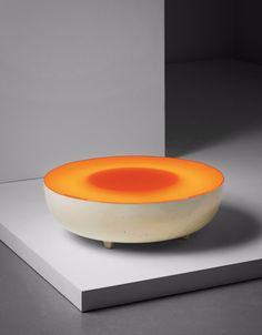 Maurice Calka; Acrylic and Fiberglass 'Mandarine' Coffee Table by Leleu-Deshays, 1968.