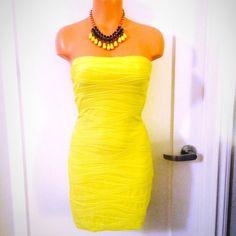 Spotted while shopping on Poshmark: NEON YELLOW STRAPLESS DRESS! #poshmark #fashion #shopping #style #Dresses & Skirts