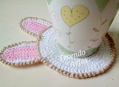 Tecendo Artes em Crochet: Porta Copos Coelhinhos!