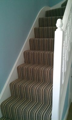 Striped stairs carpet. Cheltenham Charcoal Stripe.