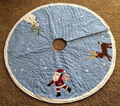POTTERY BARN KIDS CHRISTMAS TREE SKIRT BLUE NEW SANTA SNOWMAN REINDEER NO NAME