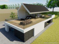 Building Design Architectuur House Roof Design, Flat Roof House, Building Design, Building A House, Bungalow, Modern Villa Design, Contemporary Cottage, Modern Architecture House, Home Design Plans