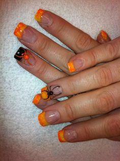 Frighteningly Cute Nail Art Designs for Halloween My nails – Halloween nails, fall nails, acrylic, nail art This image has. Get Nails, Fancy Nails, Love Nails, Pretty Nails, Cute Nail Art Designs, Fall Nail Designs, Awesome Designs, Halloween Nail Designs, Halloween Nail Art