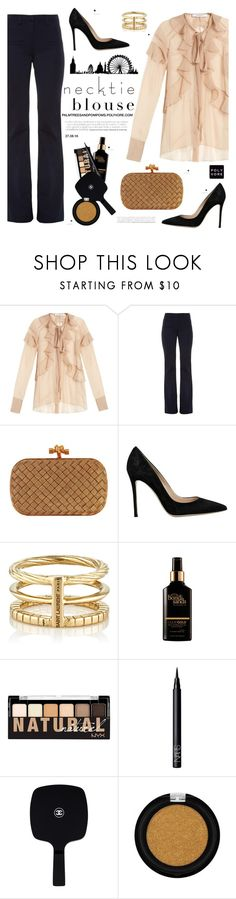 """""""Fall Trend: Necktie Blouse / Givenchy Silk-chiffon ruffled neck-tie blouse"""" by palmtreesandpompoms ❤ liked on Polyvore featuring Givenchy, Altuzarra, Bottega Veneta, Gianvito Rossi, Yves Saint Laurent, NYX, NARS Cosmetics, Chanel, matchesfashion and falltrend"""