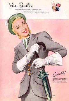 1947 Van Raalte glove ad 40s 50s vintage fashion style color illustration grey suit jacket skirt green hat scarf white gloves