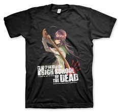 This is a great T-shirt featuring the most popular character from the zombie-anime High School of the Dead (also written Highschool of the Dead), Saeko Busujima, as she prepares to take out the undead with her wooden kendo sword. Features the H.O.T.D. logo complete with bloody handprint. Great fo...