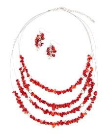 Red Chip Necklace and Earrings Set - Accessorize like a fashionista in this set featuring a four-row illusion necklace adorned in vibrant red chips and matching cluster drop earrings.