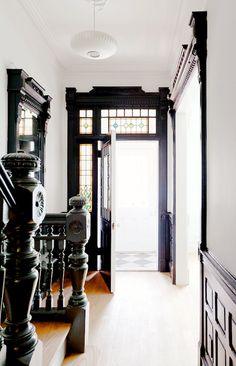 American Home interior Style - Contemporary Home interior Design Videos Wall Art - Tiny Home interior Mini Houses - - Modern Victorian, Victorian Homes, Victorian Hallway, Home Interior, Interior And Exterior, Black Trim Interior, Dark Trim, White Oak Floors, Black Walls