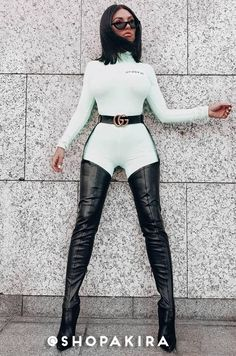 Sexy thigh high stiletto boots in a stretchy PU fabrication. By AZALEA WANG. Belt Thigh High Boots, Thigh High Boots Heels, Stiletto Boots, Heeled Boots, Womens Thigh High Boots, Women's Heels, Strappy Heels, Ankle Boots, Jumpsuit Denim