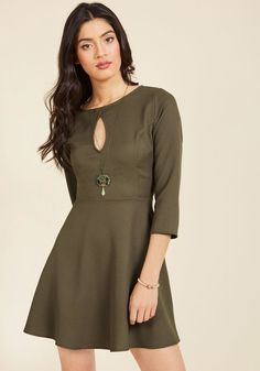Keyhole, Places, and Things Mini Dress in Olive