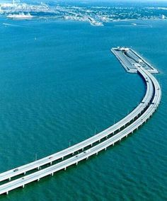 Bridge & tunnel over Chesapeake Bay, Virginia USA - the tunnel was constructed to allow vessels to enter the Norfolk Naval Base. BUCKET LIST!! :)