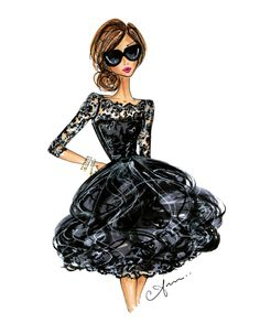 Lace at Cannes. Inspired by Emma Stone's playful Oscar de la Renta lace ruffled cocktail dress at Cannes 2015. Anum Tariq Illustrations