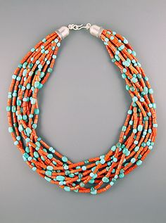 Dear Stylist - This is another pretty turquoise necklace, with coral beading instead of gold-colored metal. Ten strands of red Italian coral tubes and natural sleeping beauty turquoise nuggets finished off with our handmade silver cones. Indian Jewelry, Boho Jewelry, Jewelry Crafts, Beaded Jewelry, Jewelery, Silver Jewelry, Jewelry Accessories, Handmade Jewelry, Jewelry Necklaces