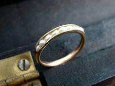 solid 14k gold petite pearl stack ring by sirenjewels on Etsy