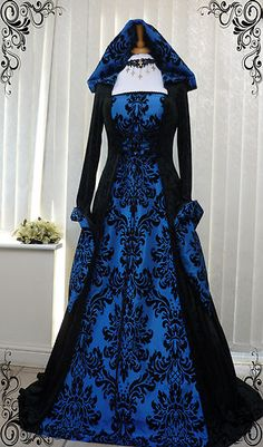Blue and Black Gothic Whitby Medieval Wedding Dress Hooded Renaissance Wiccan | eBay